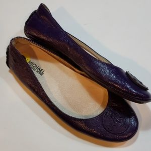 Michael Kors purple patent leather flats size 9